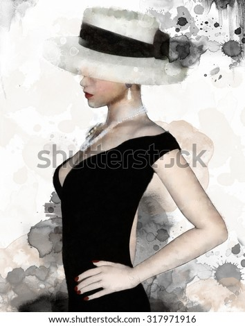 Portrait of a woman with hat - stock photo