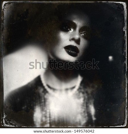Portrait of a women. Wet Plate look like photo, taken with smart phone, in-Camera Editing. - stock photo
