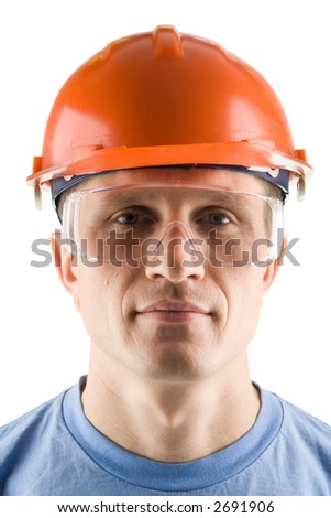 Portrait of a worker, isolated on white - stock photo