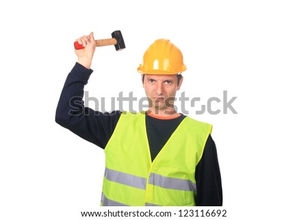 Portrait of a worker, isolated on white background