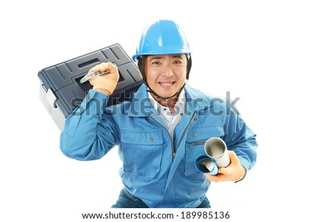 Portrait of a worker with hard hat