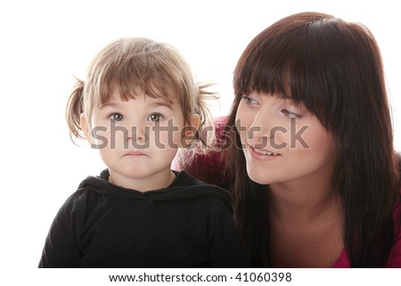 Portrait of a 2 year old girl with young mum isolated on white background
