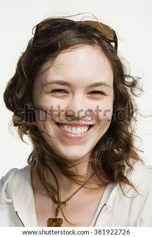 Portrait of a young adult woman - stock photo