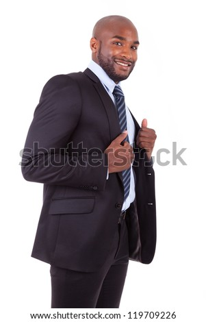Portrait of a young African American business man, isolated on white background