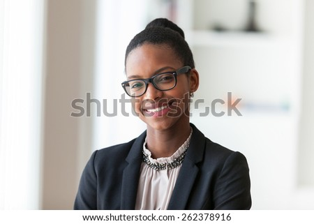 Portrait of a young African American business woman - Black people - stock photo