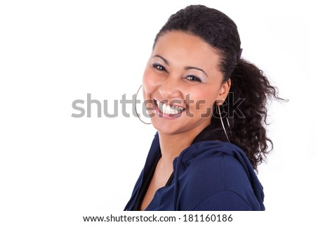 Portrait of a young African American woman holding her head, isolated on white background - stock photo