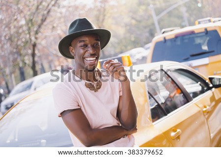 Portrait of a young afroamerican man in New York - stock photo