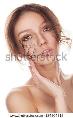 Portrait of a young and beautiful woman with problem skin - stock photo