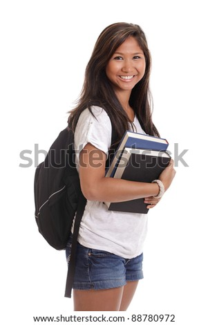 Portrait of a young Asian female college student with books and backpack isolated on a white background - stock photo