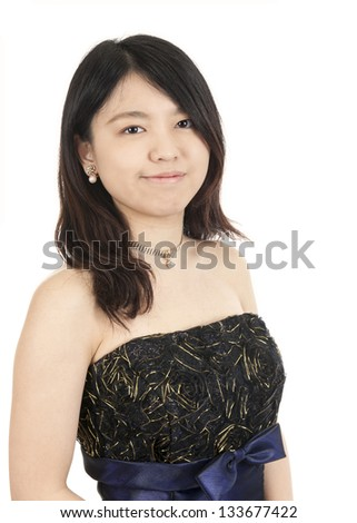 Portrait of a young asian woman,,  isolated on white background