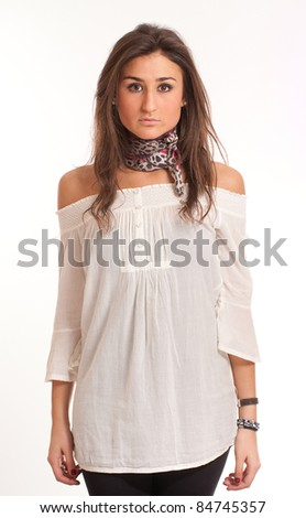 Portrait of a young attractive brunette with modern casual clothes - stock photo