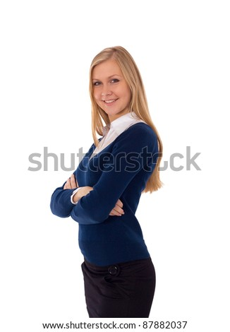Portrait of a young attractive business woman - stock photo