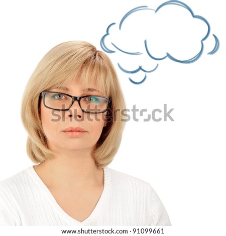 Portrait of a young attractive business woman. Isolated on white background. Blank cloud balloon with er thoughts overhead