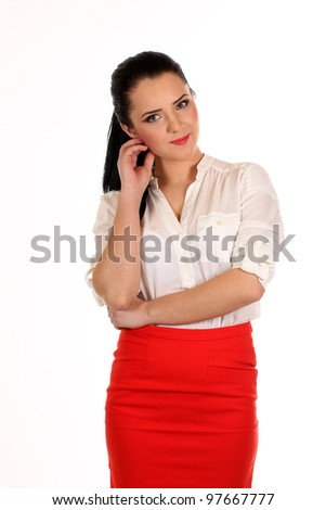 Portrait of a young attractive business woman.Isoleted on white background.