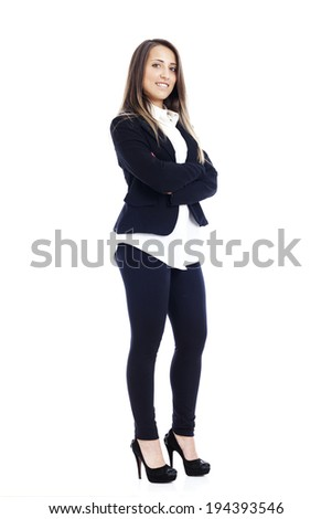 Portrait of a young attractive business woman - white background - stock photo