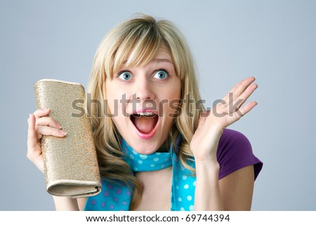 Portrait of a young attractive curly girl - stock photo