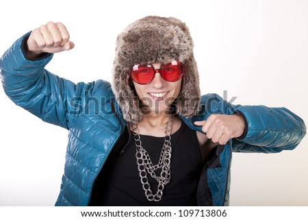 Portrait of a young attractive man dancing and smiling. - stock photo