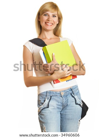 Portrait of a young attractive student on the white background