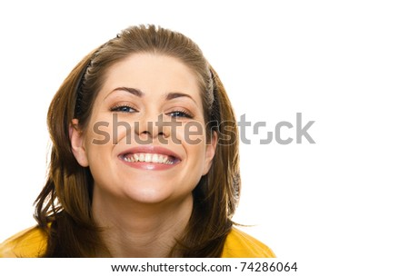 Portrait of a young attractive woman. Isolated