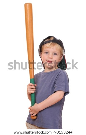 Portrait of a young baseball player holding a bat and wearing a cap