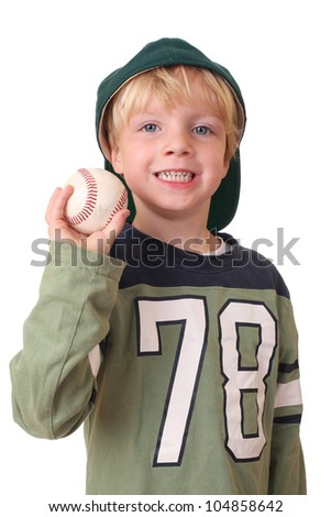 Portrait of a young baseball player on white background - stock photo
