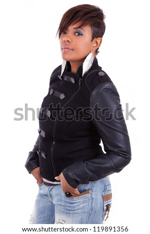 Portrait of a young beautiful black woman smiling, isolated on white background - stock photo