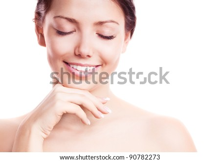 portrait of a young beautiful brunette woman with closed eyes, isolated against white background