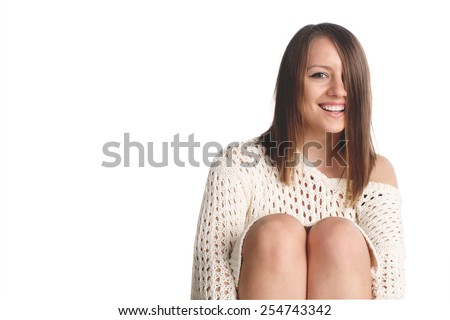 Portrait of a young beautiful girl on white background