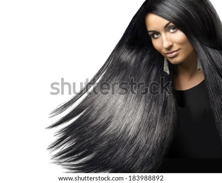 portrait of a young beautiful girl with shiny black hair - stock photo