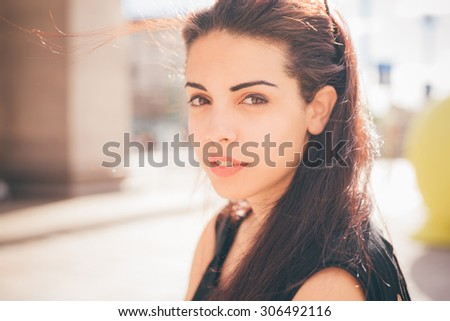 Portrait of a young beautiful reddish brown hair caucasian girl looking in camera smiling - youth, freshness, carefreeness  concept - stock photo