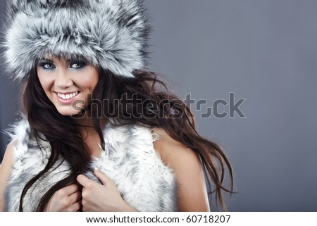Portrait of a young beautiful winter woman