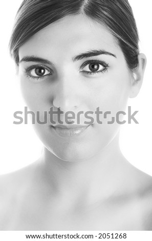 Portrait of a young beautiful woman (Black and white) - stock photo