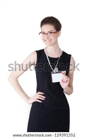 Portrait of a young beautiful woman in formal dress - stock photo