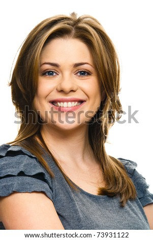 Portrait of a young beautiful woman isolated on white background - stock photo