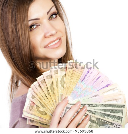 portrait of a young beautiful woman with money