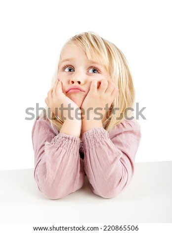 portrait of a young bored girl - stock photo