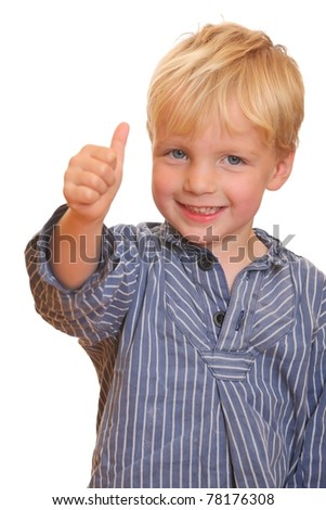 Portrait of a young boy with thumbs up - stock photo