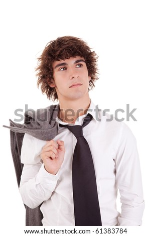 Portrait of a young business man isolated on white background. Studio shot. - stock photo