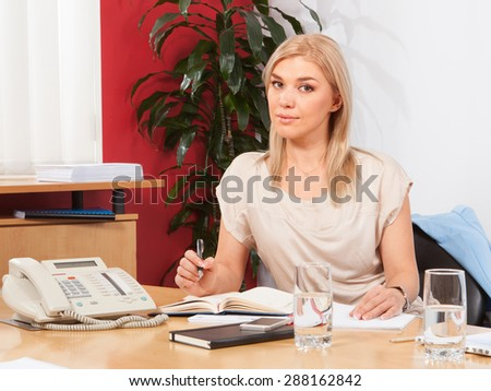 Portrait of a young business woman  at office - stock photo