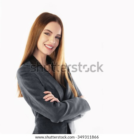 Portrait of a young business woman isolated on white - stock photo