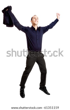Portrait of a young businessman jumping, isolated on white - stock photo