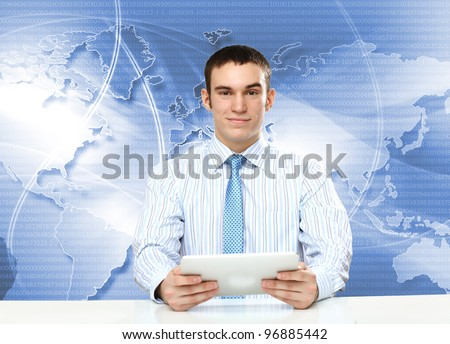Portrait of a young businessman making presentation