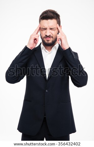 Portrait of a young businessman thinking about something isolated on a white background - stock photo
