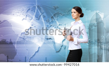 Portrait of a young businesswoman making presentation