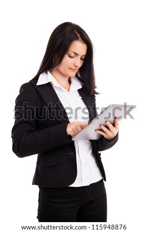 Portrait of a young businesswoman using tablet isolated on white background
