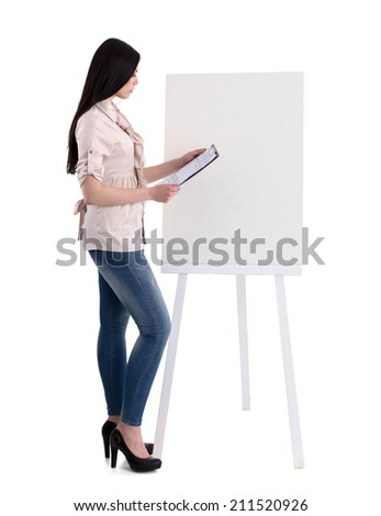Portrait of a young businesswoman while presenting her project