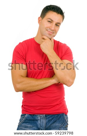 portrait of a young casual man, isolated on white