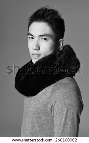 portrait of a young casual young man-black and white - stock photo