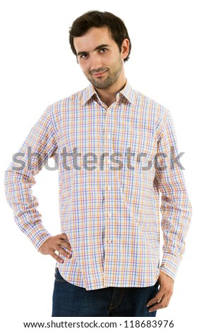 Portrait of a young caucasian man with hand on hips - stock photo