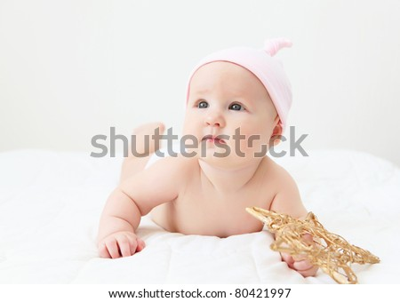 Portrait of a young child on a white background. Baby.